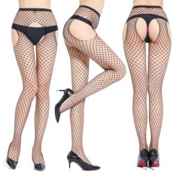 Women Sexy Fishnet Net Pantyhose Mesh Open Crotch Line Stockings black 5022
