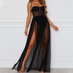 Women Sexy Sling Mesh Dress Underwear Lingerie Nightwear Dresses black M