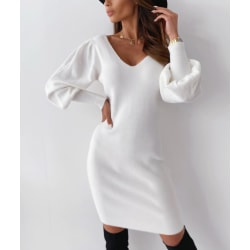 Women Sexy Winter Backless Dress V Neck Party Casual Midi Dress White S