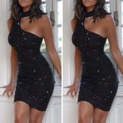 Women Sleeveless Bodycon Dress Evening Party Mini Gown Dress Black M