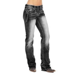 Women Slim-type Washed Style Jeans Denim Trouser Plus Size Black XL
