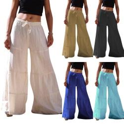 Women Solid Color Wide Leg Cotton Trousers khaki S