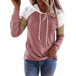 Kvinnors skarv Långärmad T-shirt med huva Lösa fickfickor