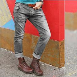 Women Stone Washed Retro Straight Leg Denim Bottoms Trousers Grey L