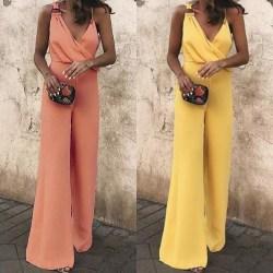 Women Summer Casual Slim Fit Jumpsuit Ladies orange M