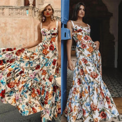 Women Summer Fashion Floral Print Long Dress floral S