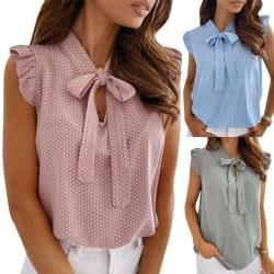 Women Summer Polka Dot Sleeveless Tank Tops Casual Work Loose Pink XL