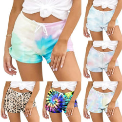 Dam sommar mode shorts, casual strand byxor Leopard L