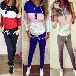 Women Tracksuit Hoodie Jogging Pants Sportswear Suit Loungewear Blue L
