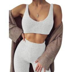 Women Two-piece V-neck Sling Cropped Autumn Winter Plush Wear white S