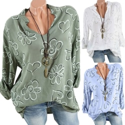 Women V-Neck Floral Print Shirts Beach Long Sleeve Loose T-Shirt Green M