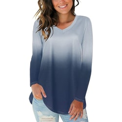 Women V Neck Gradient Long Sleeve Top Loose Casual Blouse Tee Gray XL