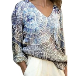 Kvinnors V-ringad långärmad blus Causal Ladies Lös tröja