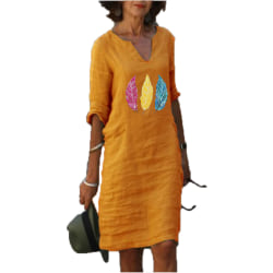 Women V Neck Long Sleeve Midi Dress Feather Printed Casual Loose Yellow 2XL