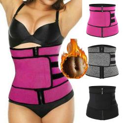 Women Waist Trainer Zip Single Belt Sports Corset Body Shapewear grey S