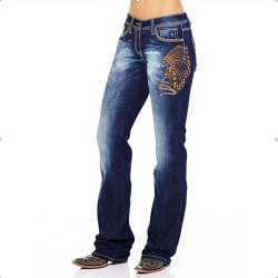 Women Washed Style Jeans Casual Thin Fit Denim Trouser Plus Size Deep Blue L