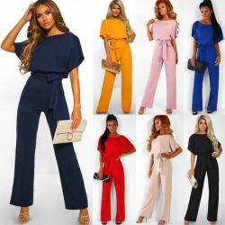 Women Wide Leg Jumpsuit Short Sleeve Evening Party Playsuit Navy Blue L