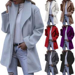 Women Winter Warm Long Coat Cardigan Long Sleeve Button Outwear White S