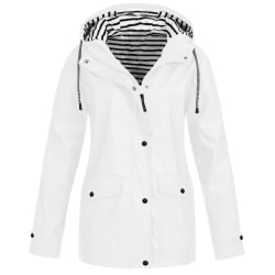 Women Zip Up Hooded Long Sleeve Waterproof Outdoor Travel Tops White M