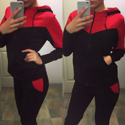 Womens Fashion Witer 2 Piece Sweatsuits Tracksuits Hood Sets Red XL