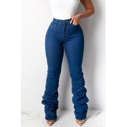 Womens Casual Slim Fit Skinny Jeans Ladies Comfy Denim Jeggings Dark Blue S