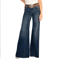 Womens Denim Wide-Leg Vintage Flared Trousers Slim Fit Bottoms Dark Blue 25