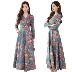 Womens Floral Print V Neck Swing Maxi Dress Ladies Party Wedding Blue XL