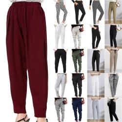 Womens Harem Office Pants Wiast Soft Skinny Basic Leggings Grey4 S