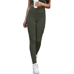 Womens High Waist Gym Leggings Pocket Fitness Sports Yoga Pants Army Green S