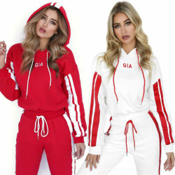 Womens Hoodie Tracksuit Set Fitness Joggers Gym Sports Pullover Red M