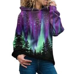 Womens Ladies Christmas Tree Printing Long Sleeve Hoodie Tops Purple 2XL