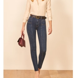 Womens Ladies Denim Casual Jeans Skinny Slim Fit Bottoms Legging Navy Blue 4XL