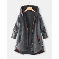 Womens Ladies Fashion Hoodie Long Sleeve Outwear Winter Casual Grey 4XL