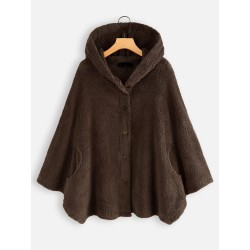 Womens Ladies Overcoat Hooded Coat Casual Button Solid Short Coffee 3XL
