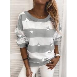 Womens Ladies Striped Winter Crew Neck Pullover Jumper Hoodies Grey 3XL