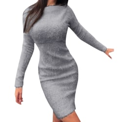 Womens Ladies Winter Long Sleeve Warm Jumper Pullover Midi Dress Gray M