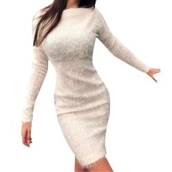 Womens Ladies Winter Long Sleeve Warm Jumper Pullover Midi Dress White 3XL