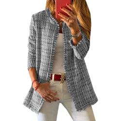 Pläd kofta för kvinnor, öppen front, långärmad jacka grå M
