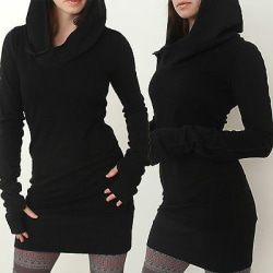 Kvinnors långärmad tröja med huva Pullover Casual tröja