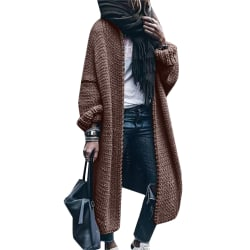 Womens Long Sleeve Knitted Sweater Cardigan Coat Loose Outwear Brown 2XL