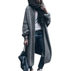 Womens Long Sleeve Knitted Sweater Cardigan Coat Loose Outwear Gray 2XL