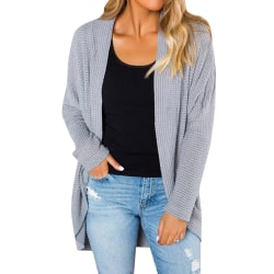Womens Long Sleeve Knitted Sweater Cardigan Solid Jacket Coat Grey L