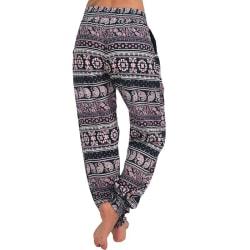 Womens Pocket Wide Boho Pants Harem Waist Yoga Capri Beach Pants Pink2 2XL
