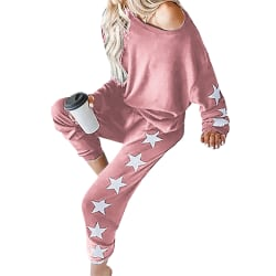 Womens Pyjamas Set Long Sleeve Tops Nightwear Loungewear Pajamas Pink 2XL