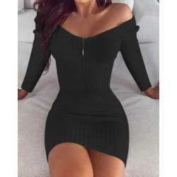 Womens Sexy Long Sleeve Solid Color V Neck Party Mini Dress Black L