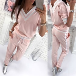 Womens Short Sleeve Tracksuit V Neck Pullover Sweatshirt Pants Pink L