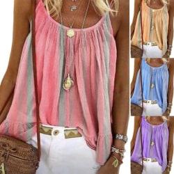 Womens Sleeveless Vest Tank Tops T-Shirt Summer Holiday Beach Purple S