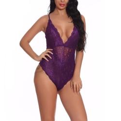Womens Strappy Lace Slim Fit Mesh Sexy Underwear purple M