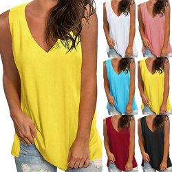 Womens Summer Sleeveless Vest V Neck Casual Loose Cami Blouse Blue S
