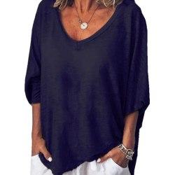 Kvinnors V-hals Långärmade lösa T-shirts Vanligt Casual Blus Top